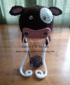 Molly Moo Cow Hat Pattern - Crochet Pattern Number 4 - Beanie and Earflap Pattern - Newborn to Adult - CROCHET HAT PATTERN. 3.25, via Etsy.