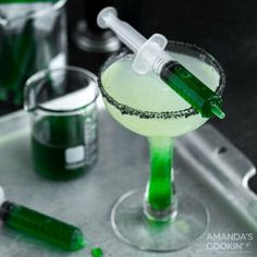 Green goo meets this refreshing Frankenstein margarita loaded with tequila and lime juice in a black lava salt rimmed glass. Bring the chills to your Halloween party with this freaky Frankenstein margarita. Green goo gives this cocktail a colorful lime-infused surprise. Green goo meets a refreshing margarita loaded with tequila and lime juice in a black lava salt rimmed glass. This Frankenstein margarita is always a conversation starter, especially when you serve the goo in syringes!