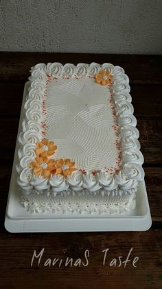 Baby Shower Cakes And Frosting Recipes Buttercream Cake Designs, Cake Decorating Frosting, Cake Decorating Designs, Creative Cake Decorating, Birthday Cake Decorating, Creative Cakes, Square Birthday Cake, Birthday Sheet Cakes, Simple Birthday Cake Designs
