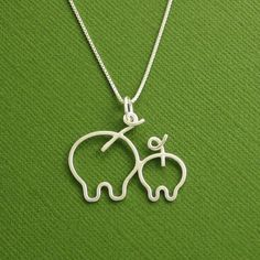 Pig Necklace, Mother and Piglet, Mother and Baby, Sterling Silver, Made To