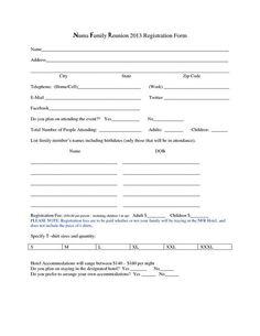 Family Reunion Registration Form Template