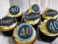 40th Birthday cupcakes for men