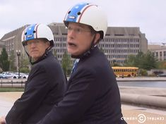 Stephen Colbert and former U. representative for Georgia's congressional district wearing Nutcase Helmets Stephen Colbert, Helmets, Finals, Georgia, Tv, Celebrities, Movies, How To Wear, Hard Hats