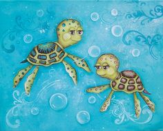 Sea Turtle, Children's Wall Art, Ocean Bathroom Decor, Nautical Nursery, Turtle Nursery, Children's Room Decor, Kids Playroom, 11x14 Print. $21.00, via Etsy.