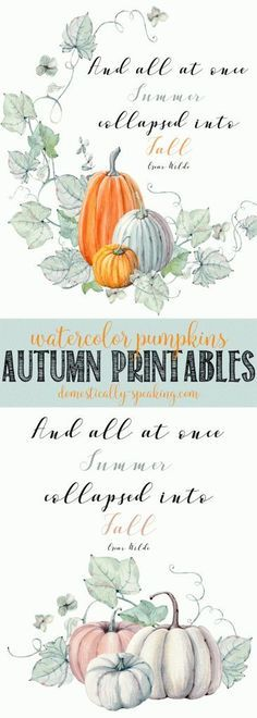 2 Fall Watercolor Pumpkin Printables for you to enjoy this Autumn season. Beautiful muted shades of oranges, purples and grays.