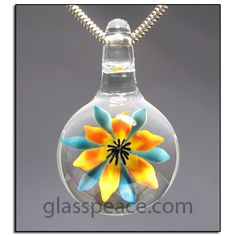 Glass Flower Pendant lampwork necklace focal bead by Allison Hill, $40.00