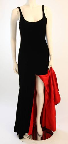 Stunning Nolan Miller Couture Black Velvet Gown With Red Lining | From a collection of rare vintage evening dresses at https://www.1stdibs.com/fashion/clothing/evening-dresses/