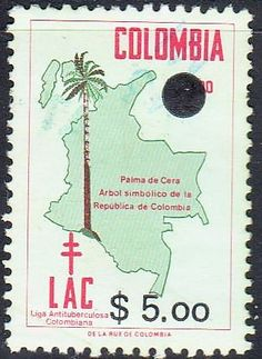 Colombia - Map on stamps theme.