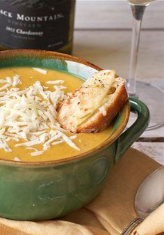 Butternut Squash + Apple Soup with Apple-Gruyere Crostini - offbeat + inspired