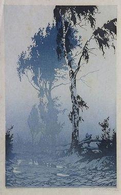 VORLÄUFIGES BILD ✨ Oscar Droege (1898-1983) - Birken am Wegesrand, Farb-Holzschnitt, ca. 50 x 29 cm ::: Wayside Birches, Color woodcut, pencil signed- PROVISIONAL PICTURE