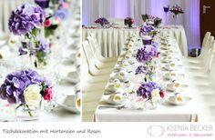 tischdekoration hochzeit glasvasen mit hortensien und rosen