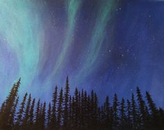 Acrylic Painting on Canvas 16x20 - Yellowknife Northern Lights