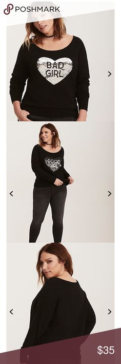 "BNWT Torrid 5X Dblw Sequin Good Girl Bad Girl Swtr Depending on your current mood, swipe up or down! This black ribbed knit crew neck sweater looks like your typical snuggly style, but it's got a few tricks up its sleeves (or on its front). The reversible sequin heart design can be swiped down when you're being a ""good girl"", or swiped up when you're in ""bad girl"" mode.  I love this sweater !! You will get lots of attention wearing this one !!!!! It Rocks !!!! torrid Sweaters Crew & Scoop…"