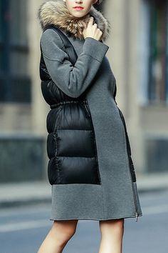 Faux Fur Collar Drawstring Down Coat