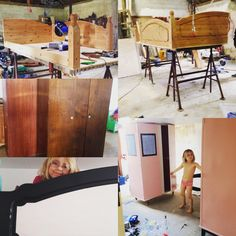 Højseng med skabe under bygges af andre møbler . KrisKrea