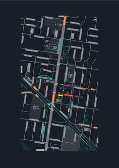 Some visual clutter but pretty cool handling of street names.  Springvale Wayfinding Signage | Studio Binocular Sign Design, Map Design, Information Graphics, Information Design, Environmental Graphic Design, Wayfinding Signage, Ui Web, Graphic Design Inspiration, Map Diagram