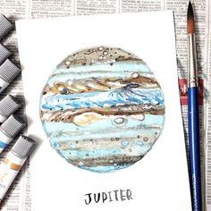 provocative-planet-pics-please.tumblr.com J U P I T E R The biggest planet of the solar system #cexillustration #watercolor #planets #jupiter #watercolorart #watercolorpainting #illustration #solar by eexuenchong https://www.instagram.com/p/BBcj0n2BpGz/