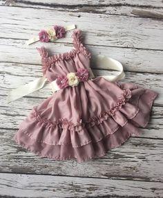 Girls dress. Dusty rose dress. Birthday outfit. by KadeesKloset