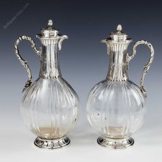 Antiques Atlas - Pair French Hallmarked Silver And Crystal Liqueur Antique Glass, Antique Silver, Crystal Decanter, Liqueur, Silver Tops, Makers Mark, Tabletop, Beautiful Things, Alice