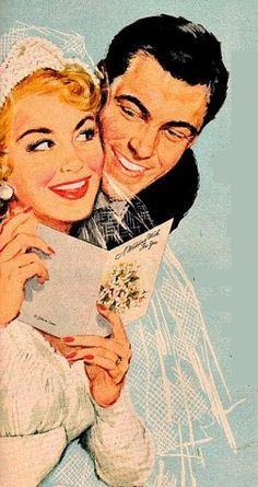Vintage illustration of Bride & Groom Rustic Wedding Groom, Wedding Gifts For Groom, Wedding Cake, Vintage Romance, Vintage Vibes, Wedding Illustration, Mid Century Art, Vintage Bridal, Vintage Advertisements