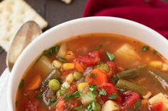 Smoked Sausage and Vegetable Soup - Cooking Classy Salmon Recipes, Chicken Recipes, Roasted Vegetables, Veggies, Vegan Vegetable Soup, Vegan Recipes, Cooking Recipes, Cooking Ideas, Soups And Stews