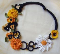 Crochet flower necklace Multicolor Choker by KSZCrochetTreasures ♡