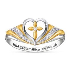 Solid sterling silver ring with 18K gold plating, 7 genuine diamonds and a cross inside an open heart. Engraved with inspirational message. Gift box.