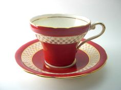 Antique Red Aynsley Tea cup and saucer set, Marroon red and gold tea cup set…