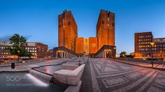 Panorama of Oslo City Hall Norway by anshar