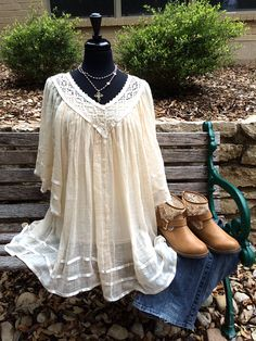 Peaceful Easy Feeling | Lace trimmed gauze top and jeans or jean shorts along with summer booties or sandals....ahhhhhh...pure comfort! | Cheerful Heart Gifts - Granbury, TX
