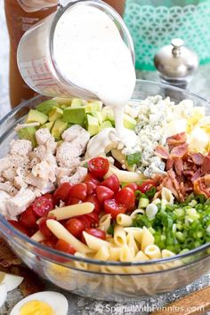 Creamy ranch dressing, juicy tomatoes, crisp bacon, avocados and cheese, this easy COBB PASTA SALAD can save the day at dinner time or be the star dish at any picnic or potluck spread!