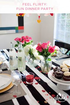 Feel your flirtiest and grab someone's attention at your next dinner party with these entertaining ideas. Set the mood with felt heart garlands, fresh cut flowers and the scent of Glade Blooming Peony & Cherry to catch someone's heart.