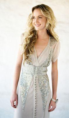 BHLDN Vintage Inspired Draped Tulle Silver Sequin Wedding Dress