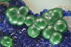 Cornubite, AzuriteCu5(AsO4)2(OH)4, Cu3(CO3)2(OH)2 Locality: Cap Garonne Mine, Le Pradet, Var, Provence-Alpes-Côte d'Azur, Franc Field of View: 4 mm Green cornubite spheres with blue...
