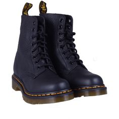 Dr Martens Pascal Leather Boots ($85) ❤ liked on Polyvore featuring shoes, boots, kevin stuart, nero, black shoes, dr martens boots, black leather boots, kohl shoes and real leather boots