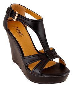 Look at this #zulilyfind! Agape Black Paris Wedge Sandal by Agape #zulilyfinds