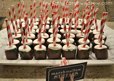 Marshmallow Stirrers at a Christmas Party #christmas #marshmallow