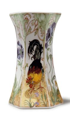 Haagsche Plateelbakkerij Rozenburg. Vase, 1914. Decorated by Samuel Schellink. Eggshell porcelain, white. Polychromatic paint. Cock and purple poppies. H. 12 cm.