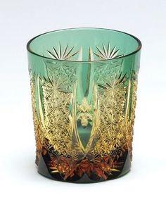 Tokyo Cut Glass Industry Cooperative Association Edo Kiriko My Glass Amber Crystal (Ruri · Green) Glass Ball, Cut Glass, Ceramic Tableware, Kitchenware, Vases, Glass Rocks, Amber Crystal, Vintage Bottles, Japanese Art