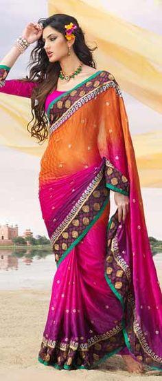 #Orange, #Pink and #Purple Jacquard #Saree With Blouse @ $92.10   Shop Here: http://www.utsavfashion.com/store/sarees-large.aspx?icode=sdw1546b