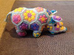 Rhino made with Heidi Bears African flower crochet pattern