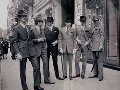 Stylish men in Paris, modeling Pierre Cardin collection, 1966. As seen in 'Sharp suits' by Eric Musgrave. Compare with British men in similar pin http://pinterest.com/pin/249668373062373148/