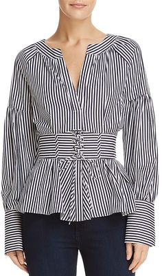 Parker Elena Corset-detail Top In Navy/ White Fashion Now, Work Fashion, Fashion Looks, Fashion Outfits, Diy Inspiration, Beautiful Blouses, Haute Couture Fashion, Plus Size Blouses, Holiday Outfits