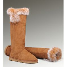 Ugg Comfortable Orange Ugg Fox Fur Tall 1852 Boots for Women Outlet Store Ugg