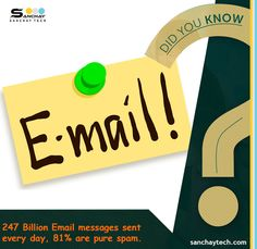 ‪#‎DidYouKnow‬? 247 Billion E-mail messages sent every day are 81% pure spam.