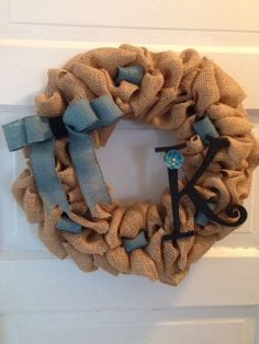 Burlap Wreath with Ribbon and Monogram Letter by JAMDesignsNJ, $50.00