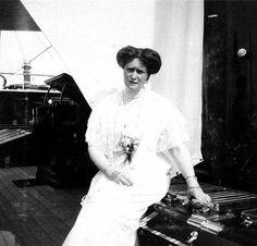 "Empress Alexandra Feodorovna of Russia on board the Imperial Royal yacht.  ""AL"""