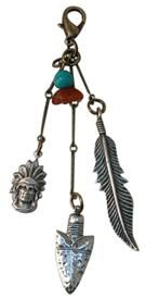 Brass Ox 3 Extension Cluster Charm with Indian Theme #turquoise bead @classiclegacy