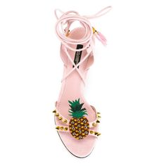 DOLCE GABBANA 85Mm Keira Pineapple Suede Sandals, Light Pink (120 KWD) ❤ liked on Polyvore featuring shoes, sandals, pineapple print shoes, pineapple shoes, dolce gabbana sandals, suede leather shoes and light pink sandals