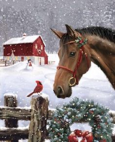 Decking The Halls - Merry Christmas/Happy Holiday You are in the right place about diy home decor Here we offer you the - Merry Christmas Pictures, Christmas Scenery, Christmas Horses, Christmas In Heaven, Merry Christmas Happy Holidays, Cowboy Christmas, Christmas Animals, Christmas Music, Country Christmas